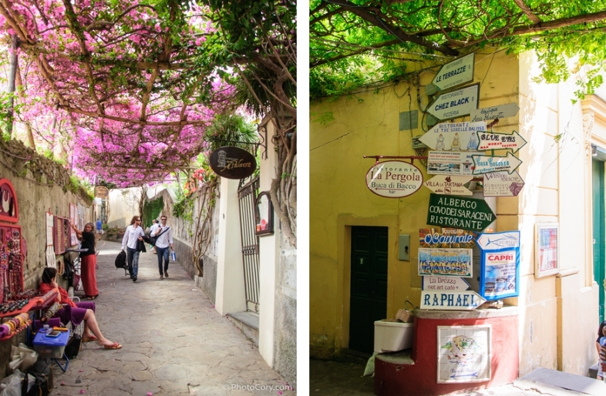 alley covered with flowers in positano shopping street