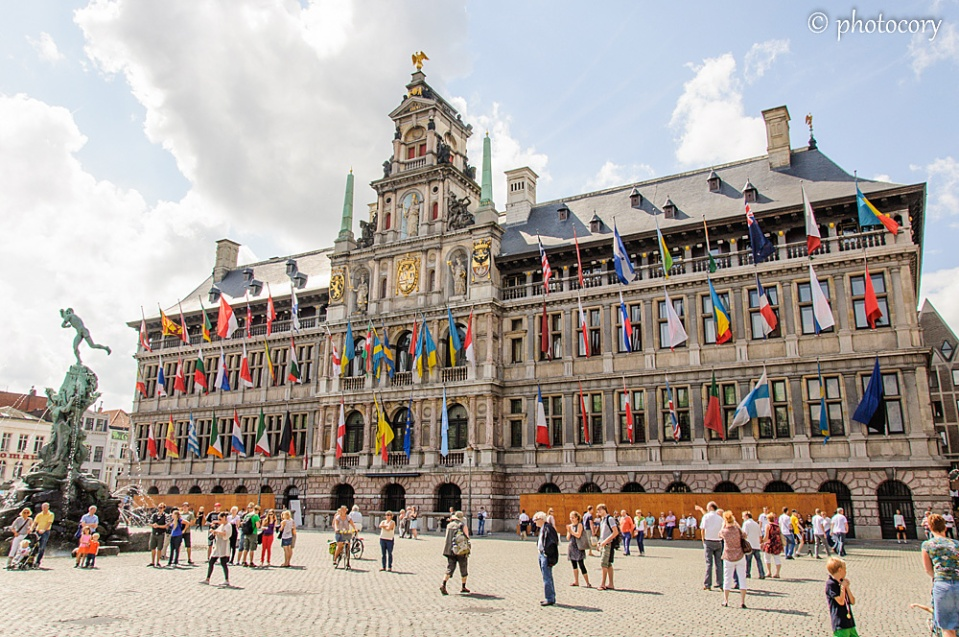 Antwerp's town hall on a sunny summer day
