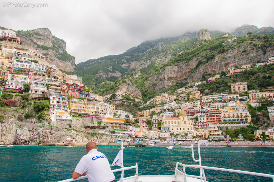 arriving by boat in positano
