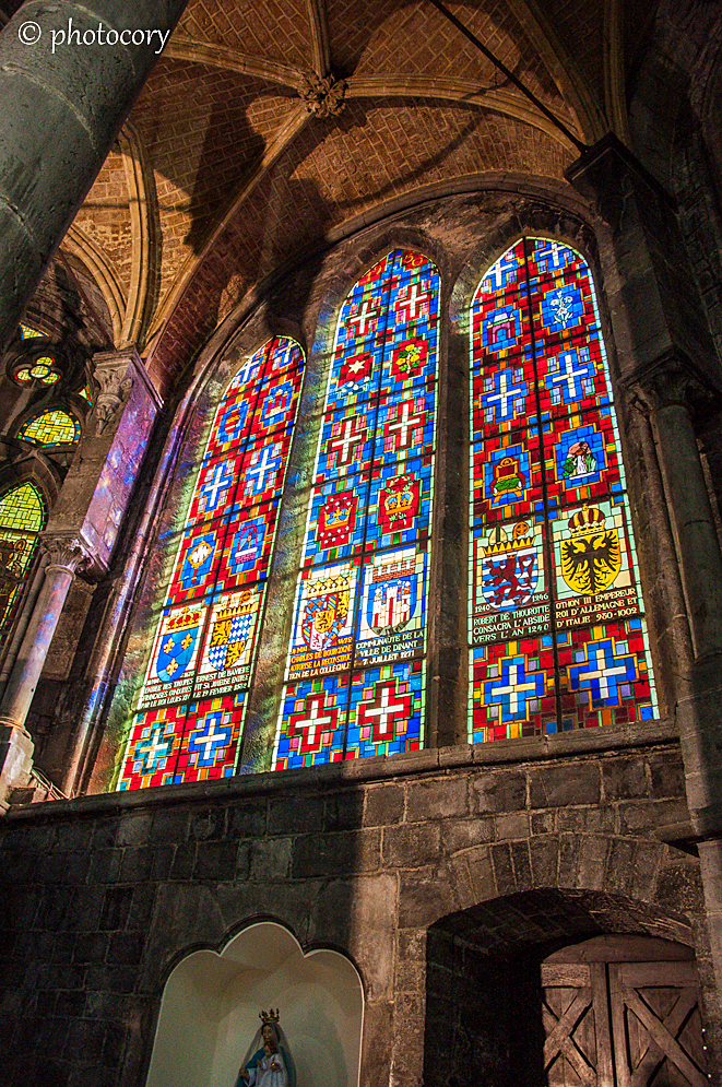 Beautiful stained glass in Notre Dame church in Dinant
