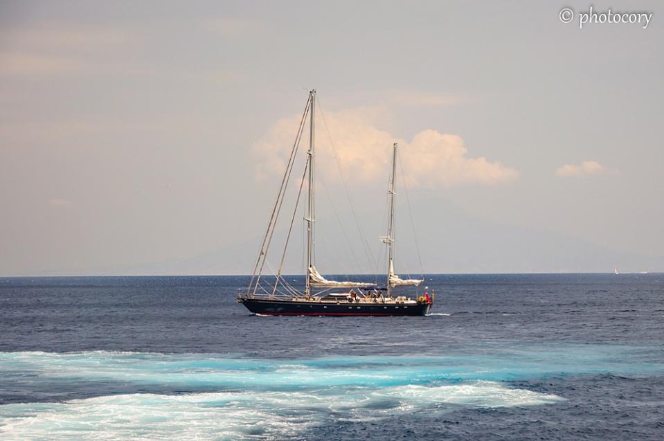 Boat on Tyrrhenian Sea
