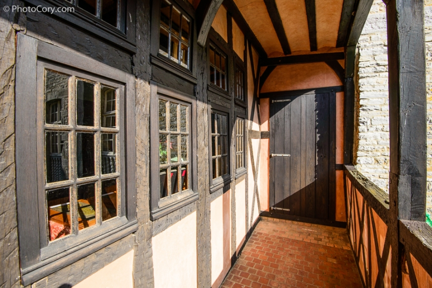 castle veves timbered walls balcony