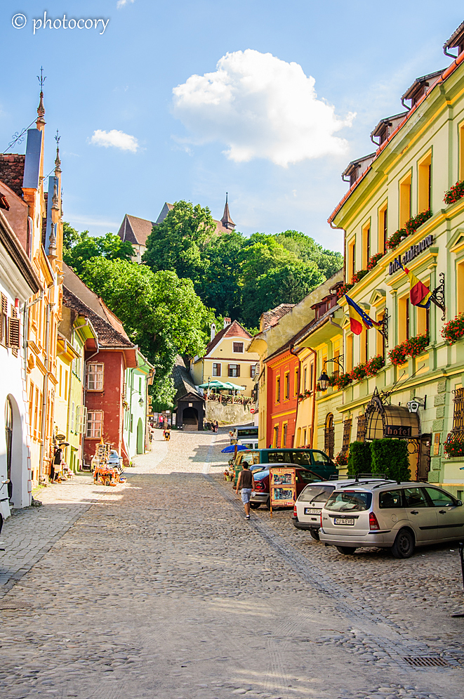 Colourful houses and cobblestone streets in the Citadel