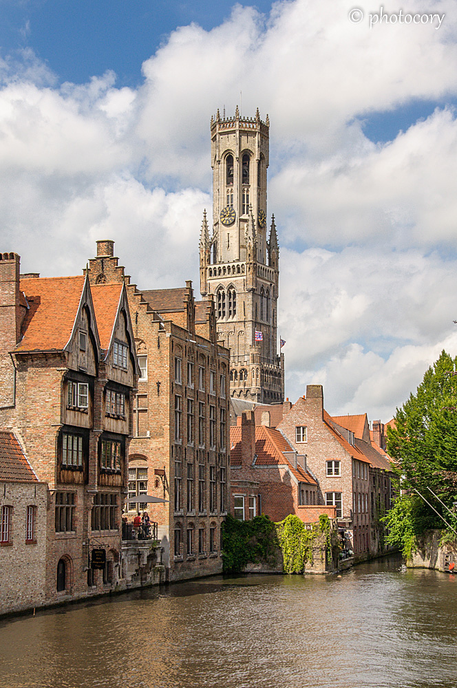 The Belfry tower, view from Rozenhoedkaai, the most photographed spot in Bruges