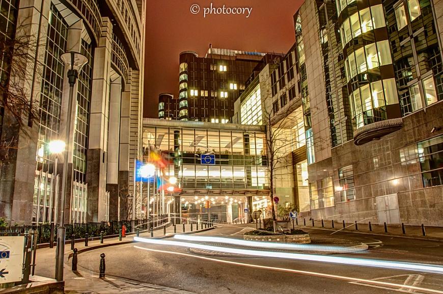European Parliament at night