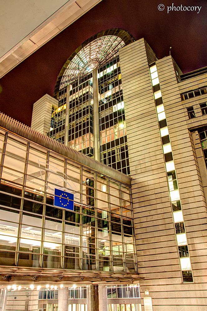 European Parliament by night