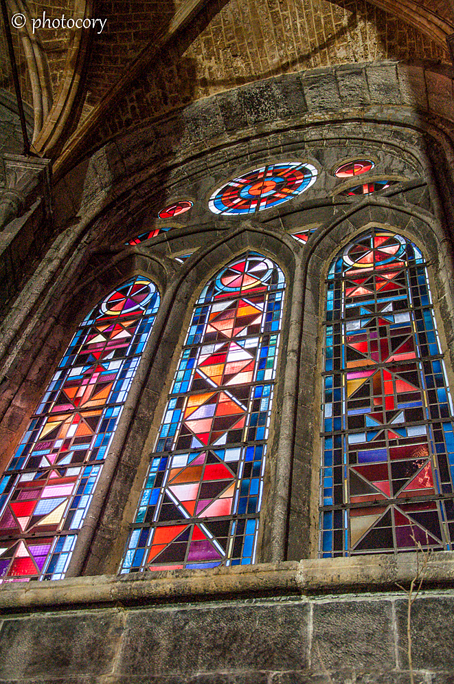 Lovely stained glass in Notre Dame church