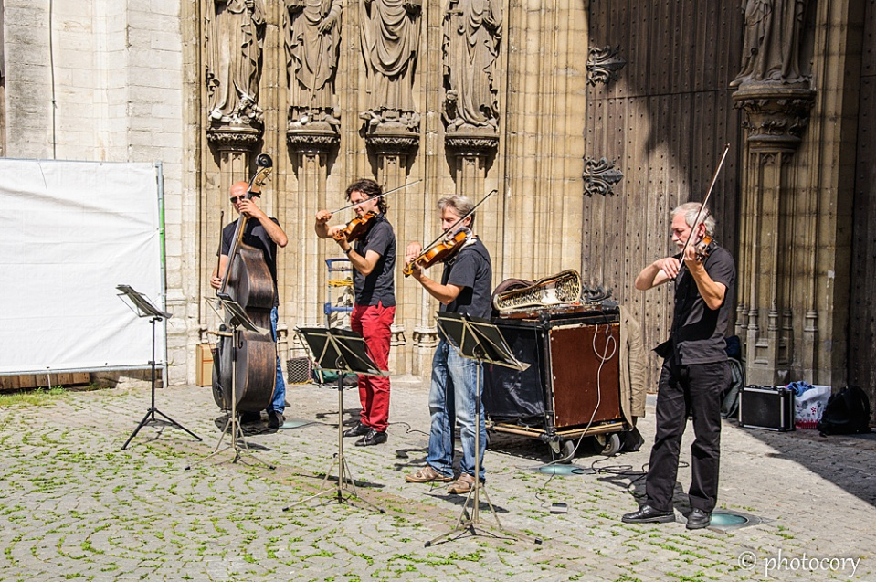 Musicians playing in front of the Cathedral of our Lady. Oh, the sweet sound of music!