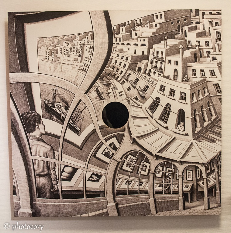 Optical illusion at Escher museum