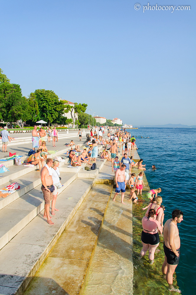 People cooling down in Zadar. It was a very hot day!