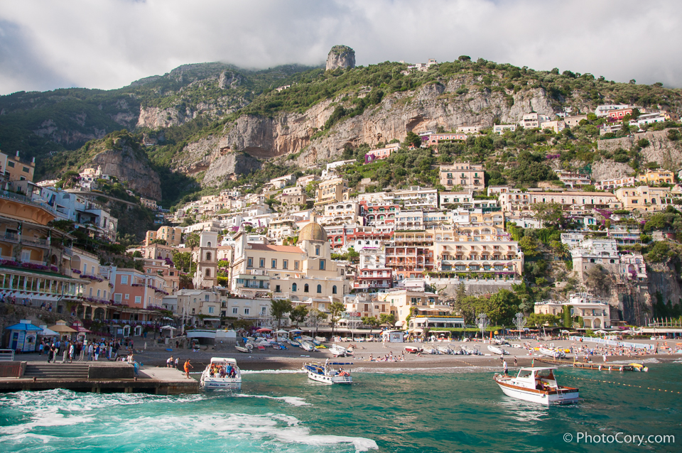 positano coast houses rock mountain