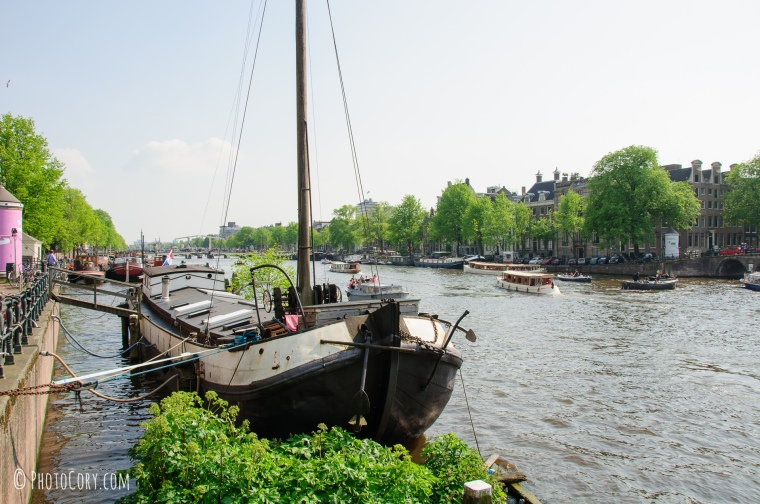 ship in amsterdam canal