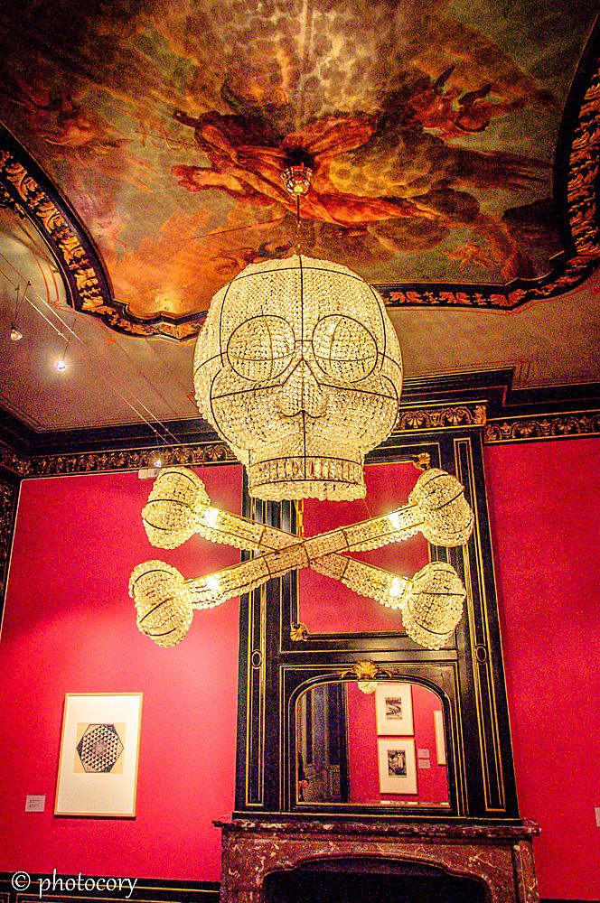 Skeleton chandelier in Escher museum