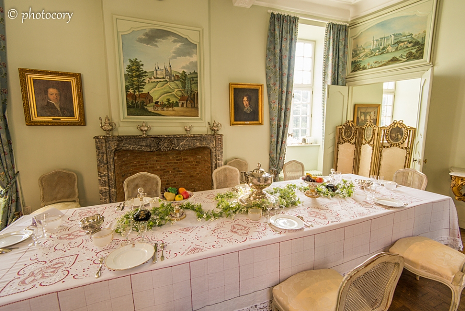 The dinner table at Castle of Veves