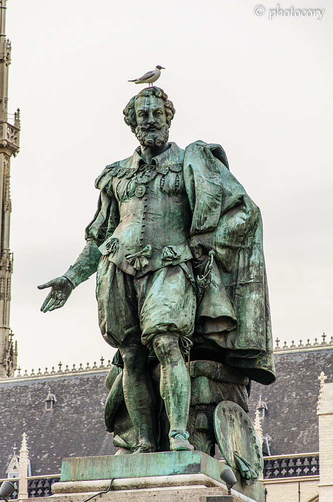 The statue of Paul Rubens, with a pigeon on top