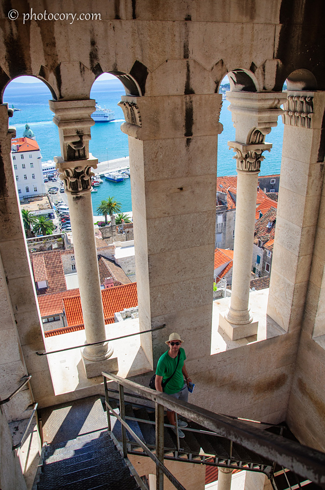 A nice view through the columns of the tower