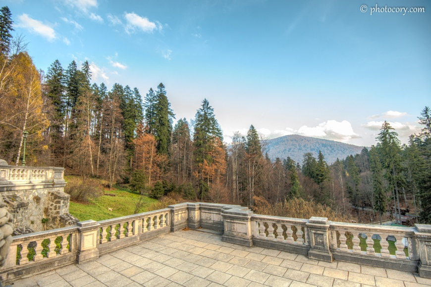 This terrace/balcony in the garden of Peles Castle offers a beautiful view of the surroundings