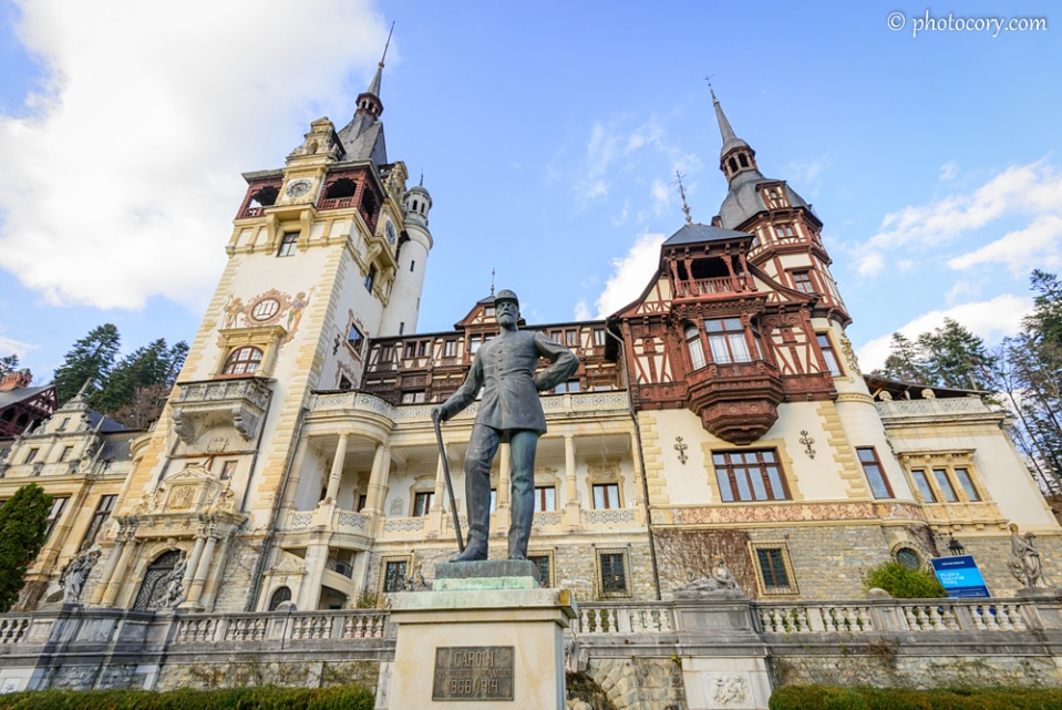 The Statue of Carol I of Romania in front of the Peles Castle