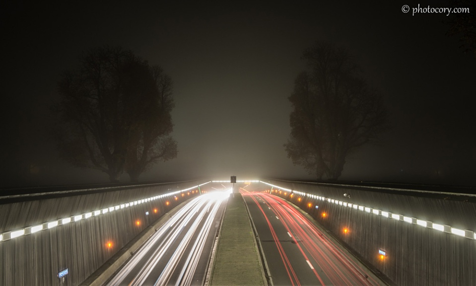 In normal weather conditions, the Triumphal Arch can be seen above the tunnel, but the fog covered it completely