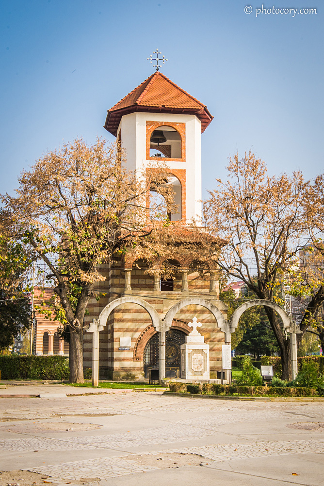 The bell tower of the church