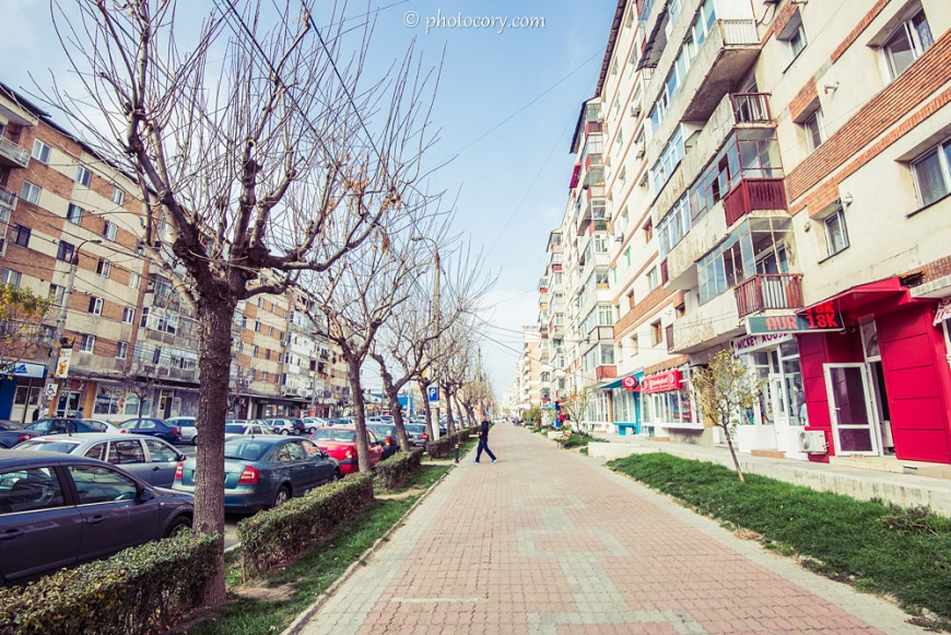 Sidewalk towards City Center