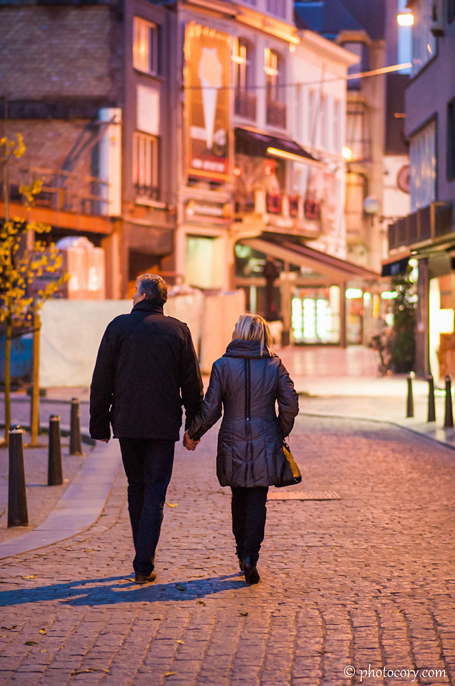 Evening walk in the center of Hasselt, Belgium