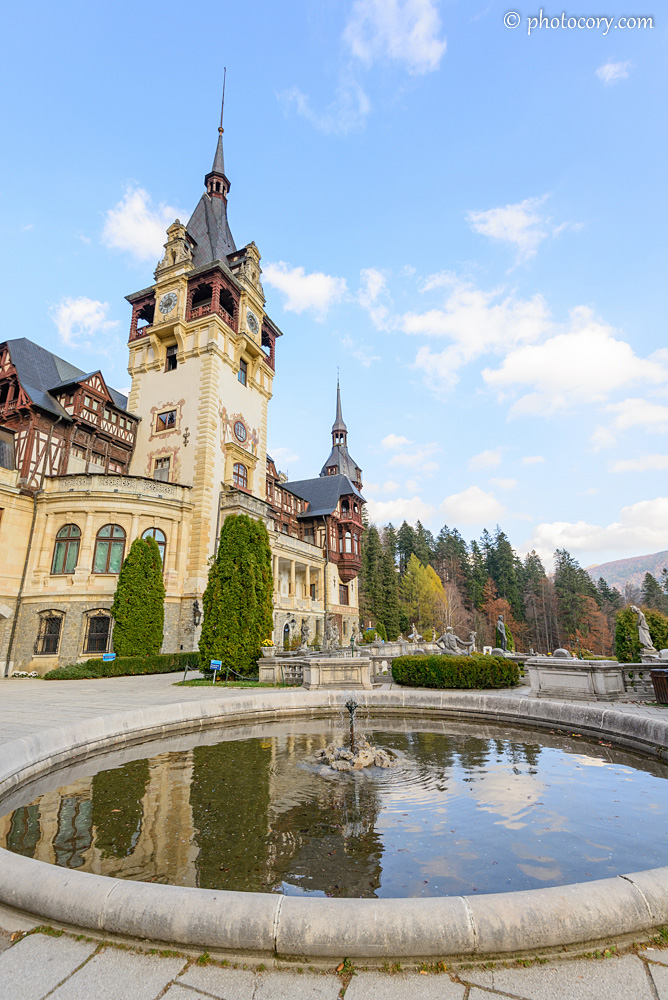 Fountain in the garden of Peles Castle