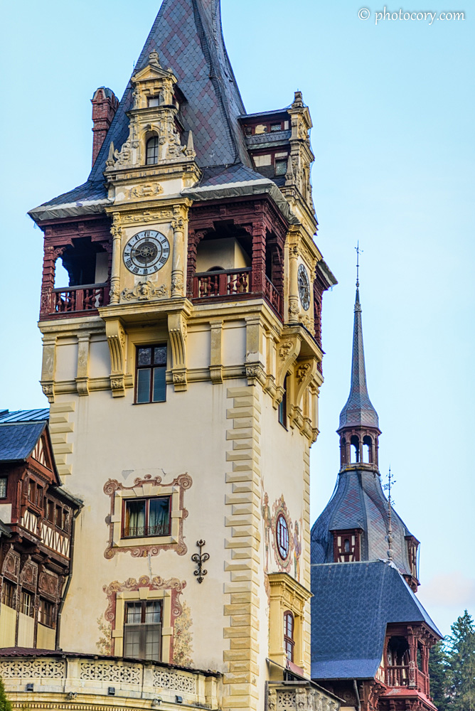 Beautiful painted tower of Peles Castle