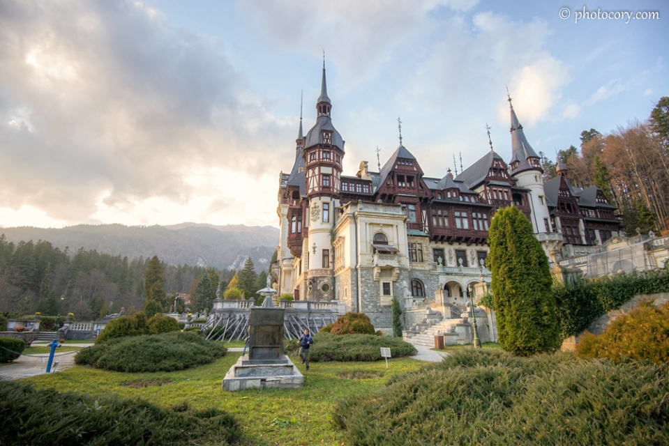 Peles Castle at the foot of Bucegi Mountains