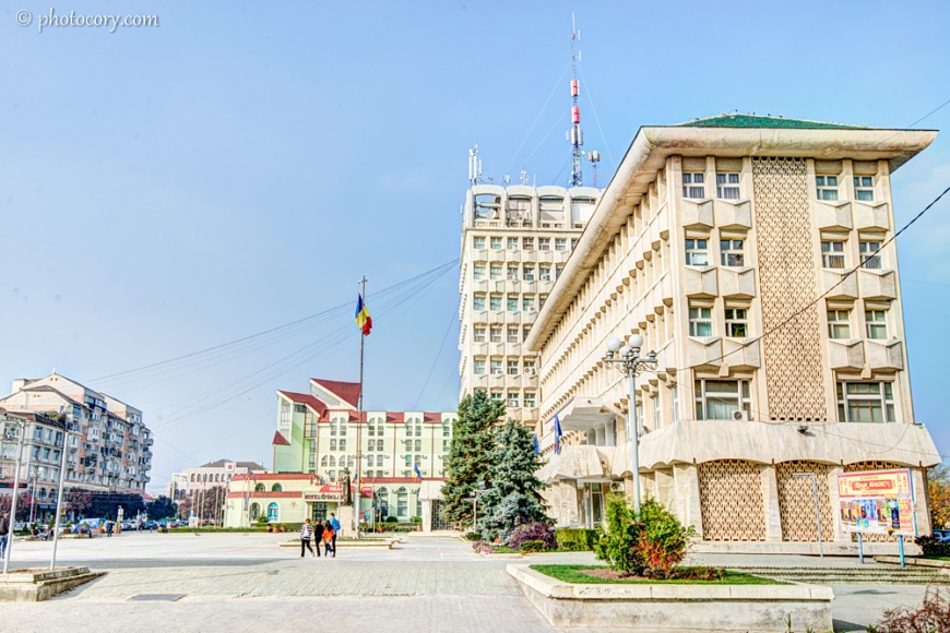 The central square with Valahia Hotel and the Prefecture