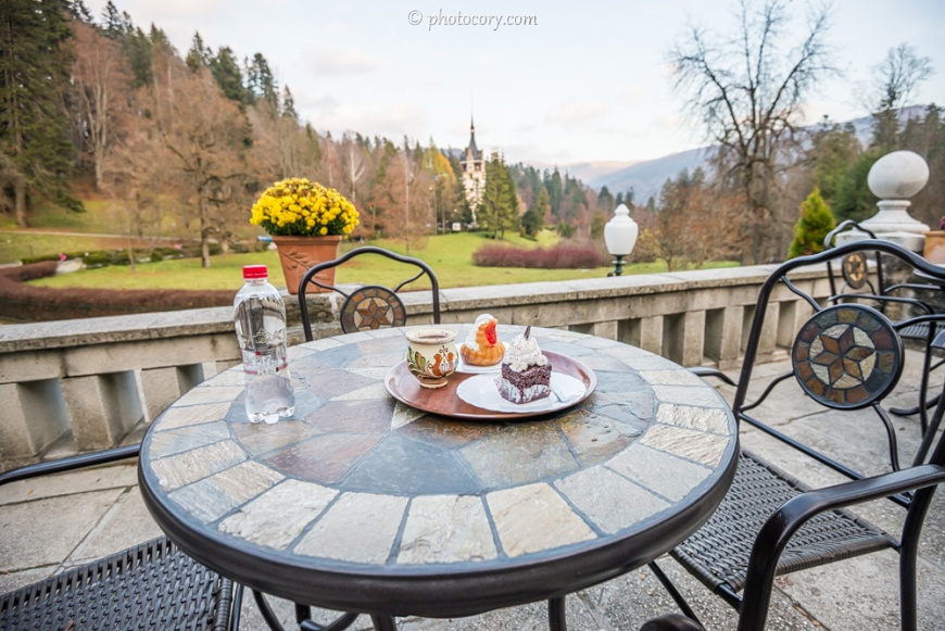 "This is the hot wine and two Romanian cakes served on the beautiful terrace with a magnificent view over mountains and Peles Castle. The cake with red jelly on top is called Savarina and the chocolate one is Called Ora 12 (""12 o'clock""). They are very good, I recommend you try them if you ever visit Romania :)"