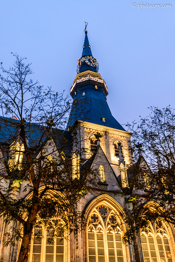 St. Quentin's Cathedral with bright yellow lights