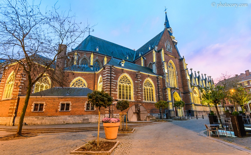 St. Quentin's Cathedral in Hasselt, Belgium, with warm, bright lights during evening
