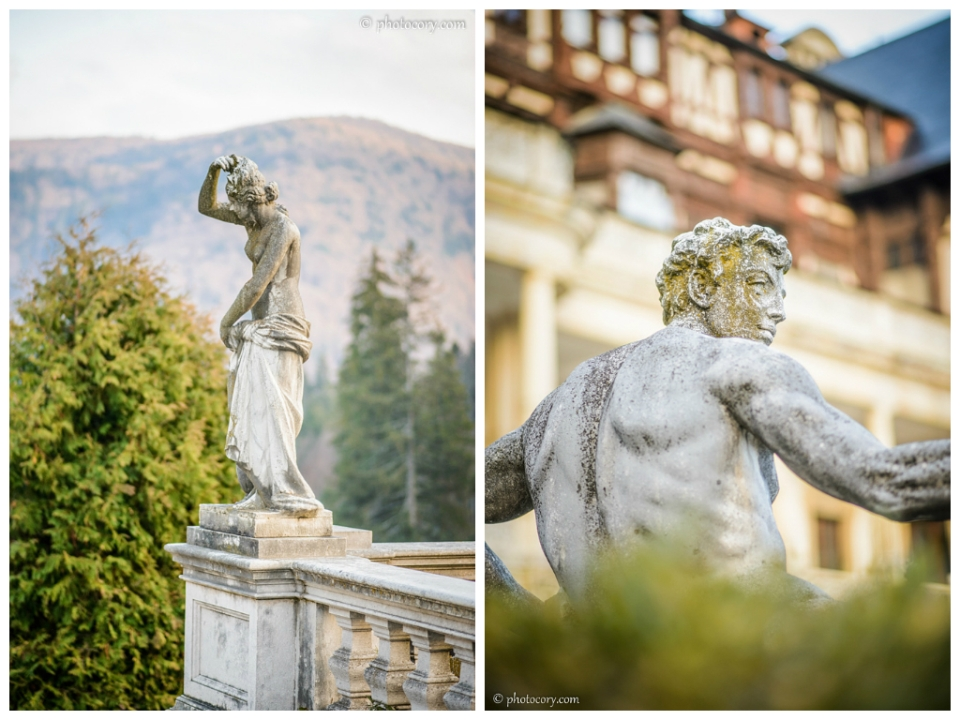 Statues in the garden of Peles Castle