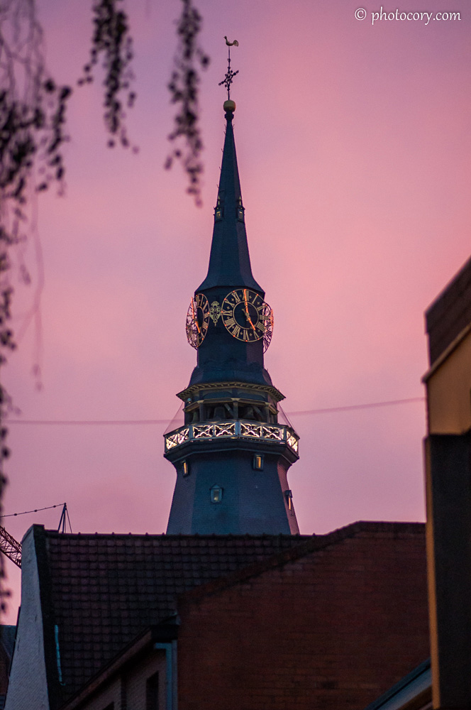 The tower of St. Quentin's Cathedral at sunset