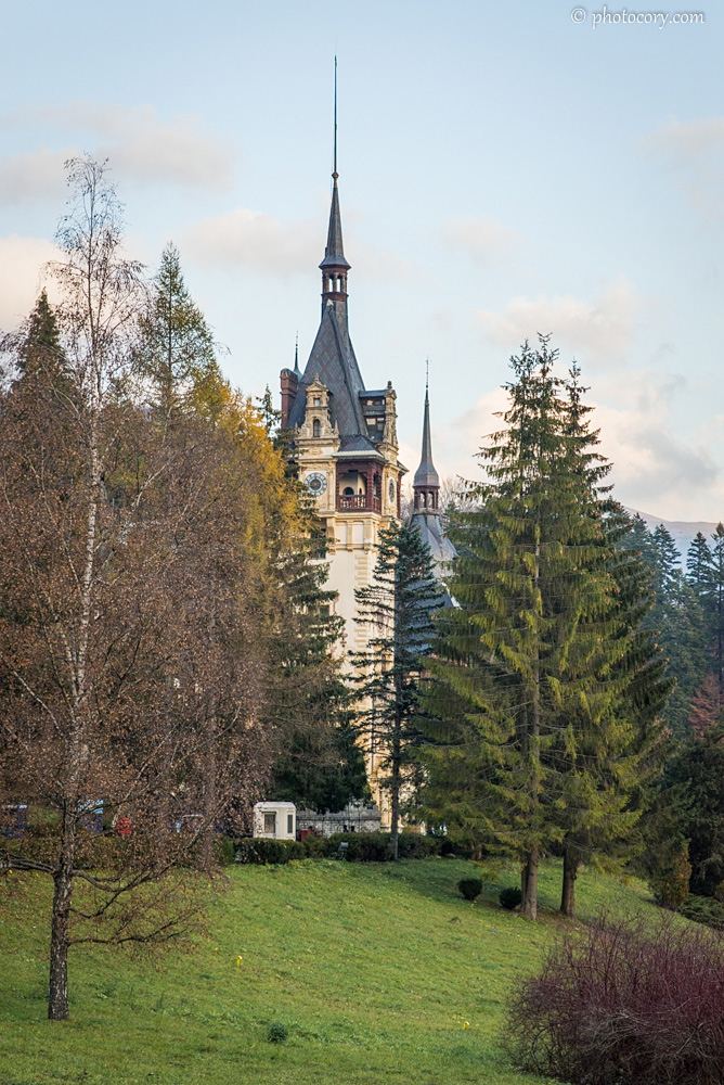 Peles Castle hiding between the trees