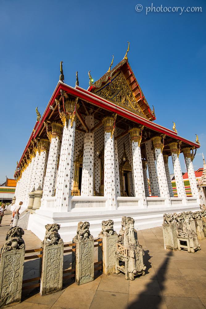 Beautiful columns at Wat Arun Temple in Bangkok