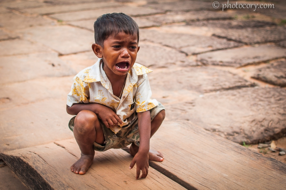 boy crying in Cambodia