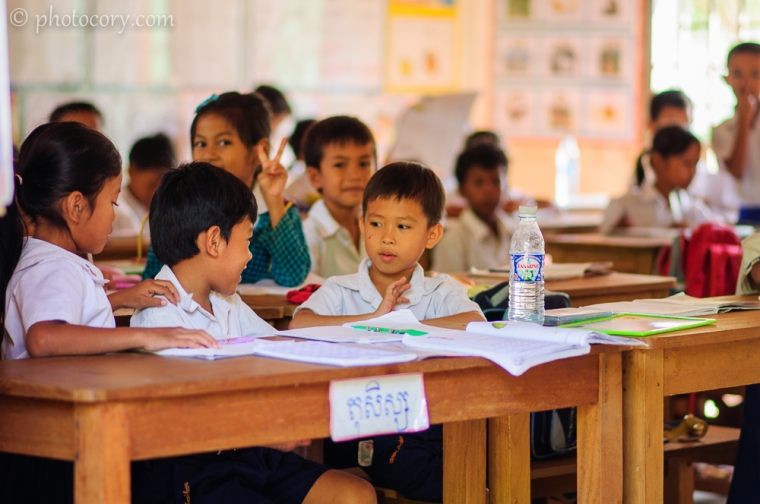 children at school in Cambodia