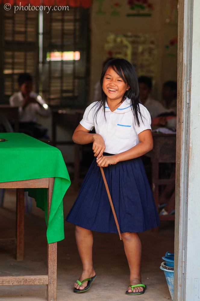 Girl laughing cambodia
