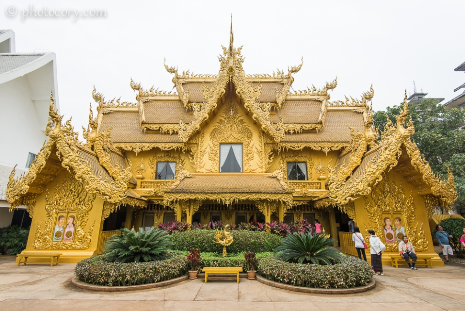 The golden toilet building at the White Temple