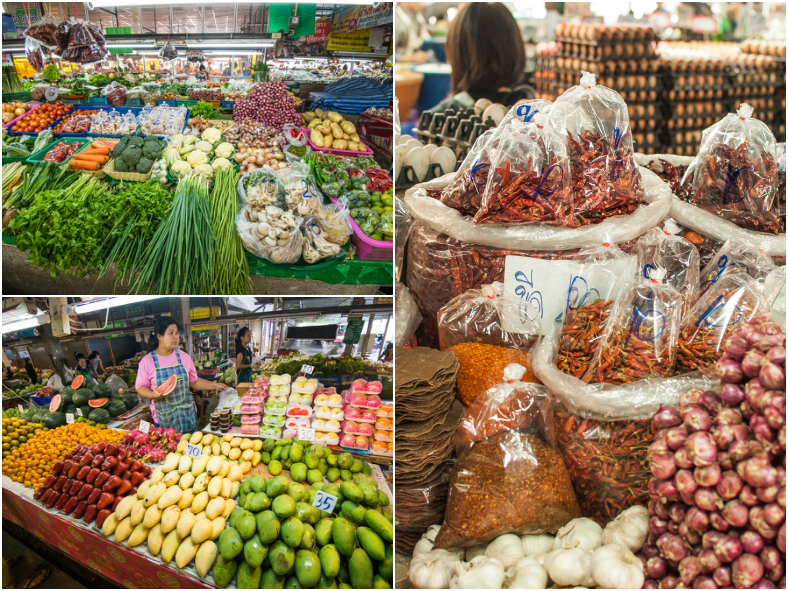 Veggies and chillies at local market in Chiang Mai