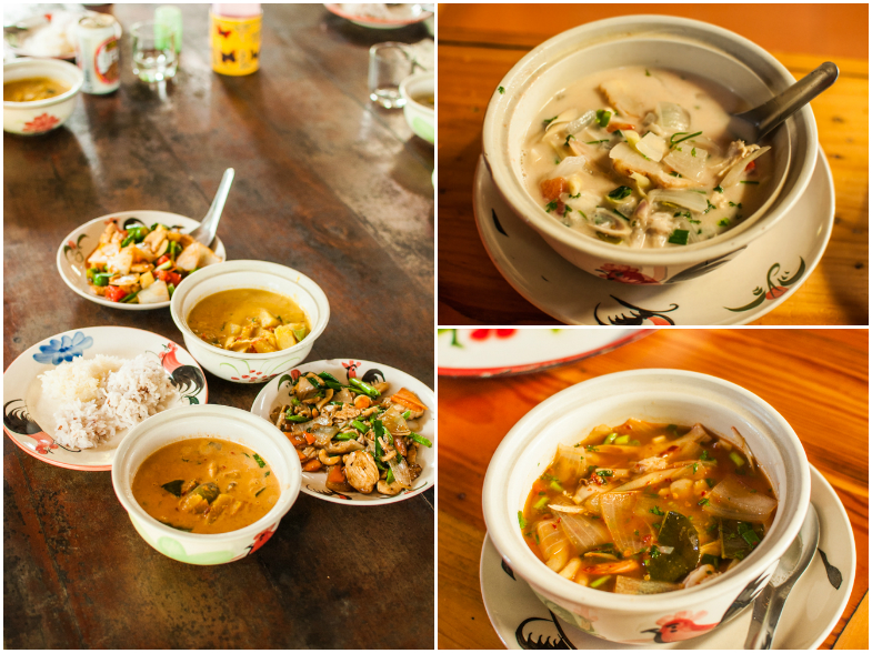 All the foods we made: red curry, yellow curry, chicken with caju nuts, pad thai/ Orez, curry rosu, curry galben, pui cu caju, pad thai