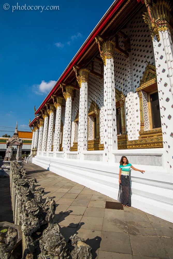 columns at Wat Arun./Coloane la templul Arun