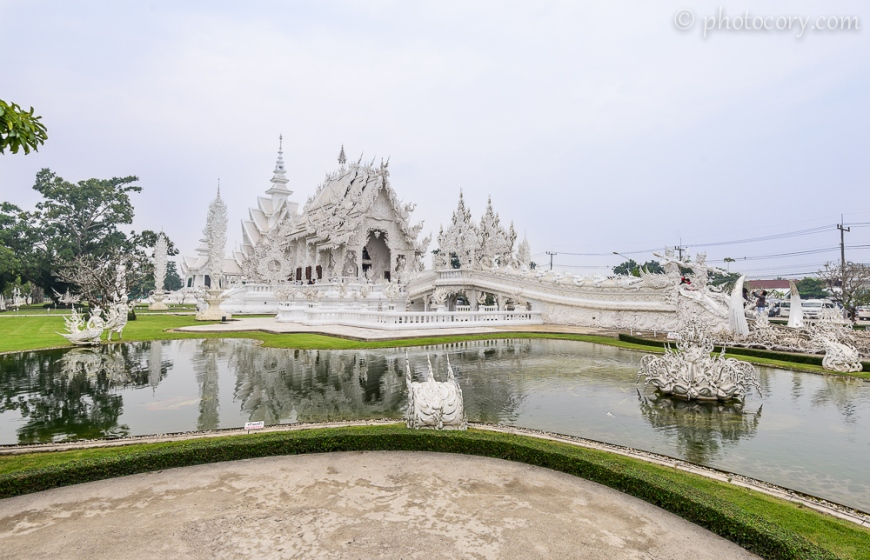 The White Temple in Chiang Rai, view from the front garden