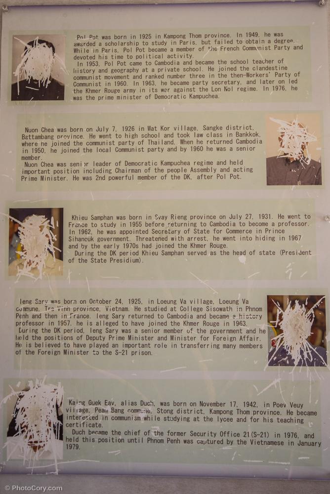 The scratched faces of all the monsters that are responsible for the crimes/ oamenii au scrijelit fetele acestor monstri care au comis crime si torturi (primul este Pol Pot).