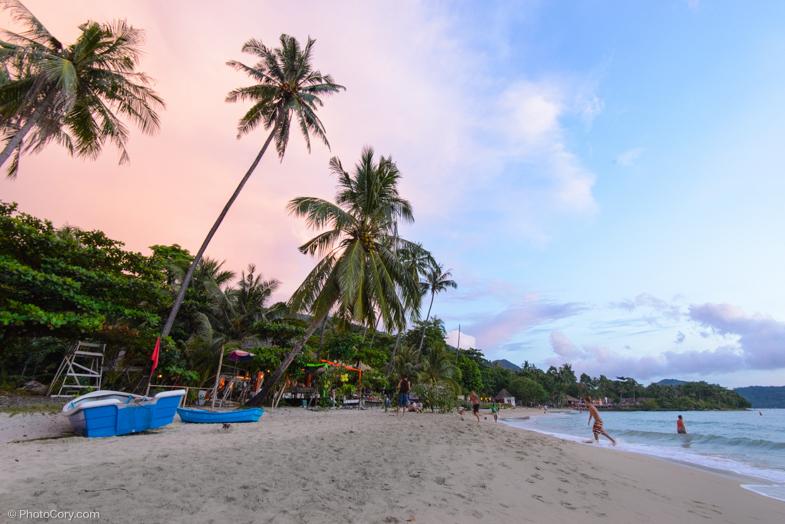 lonely beach sunset