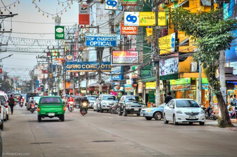 street in chiang rai thailand