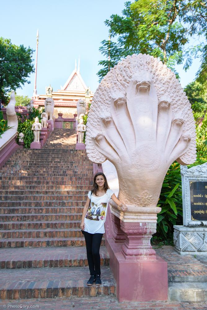 Entrance at Wat Phnom with Naga snake/ Scarile spre templul Phnom, cu sarpele Naga7 capete