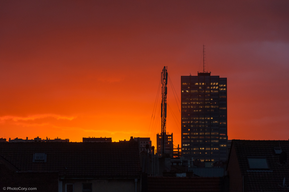 red sunset, bruxelles
